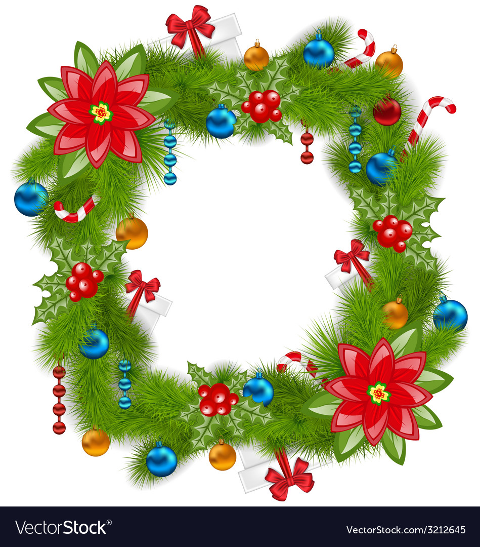 Christmas frame with traditional elements place vector | Price: 1 Credit (USD $1)