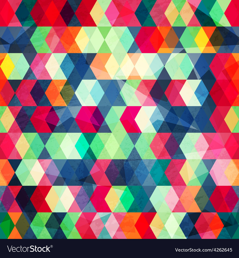 Colored cubes seamless with grungr effect vector | Price: 1 Credit (USD $1)