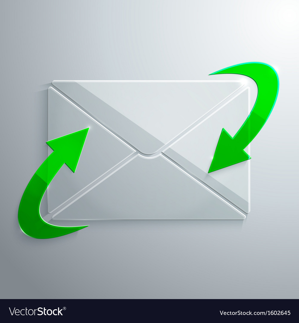 Glass icon of envelope with arrows vector | Price: 1 Credit (USD $1)
