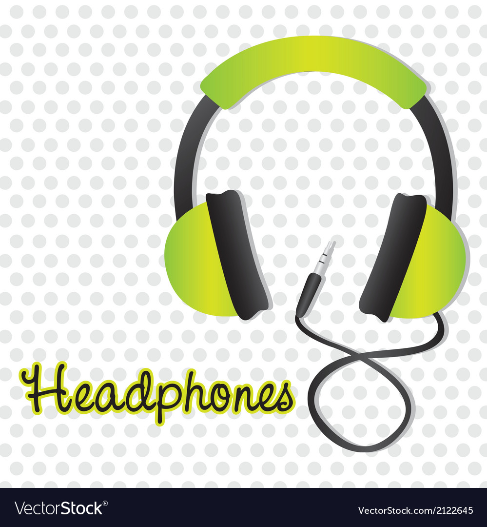 Green headphones with connector over background of vector | Price: 1 Credit (USD $1)