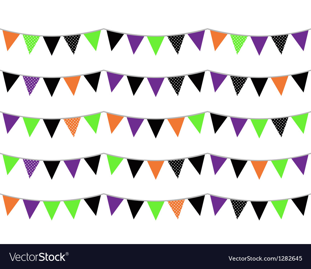 Halloween flags or bunting isolated on white vector | Price: 1 Credit (USD $1)