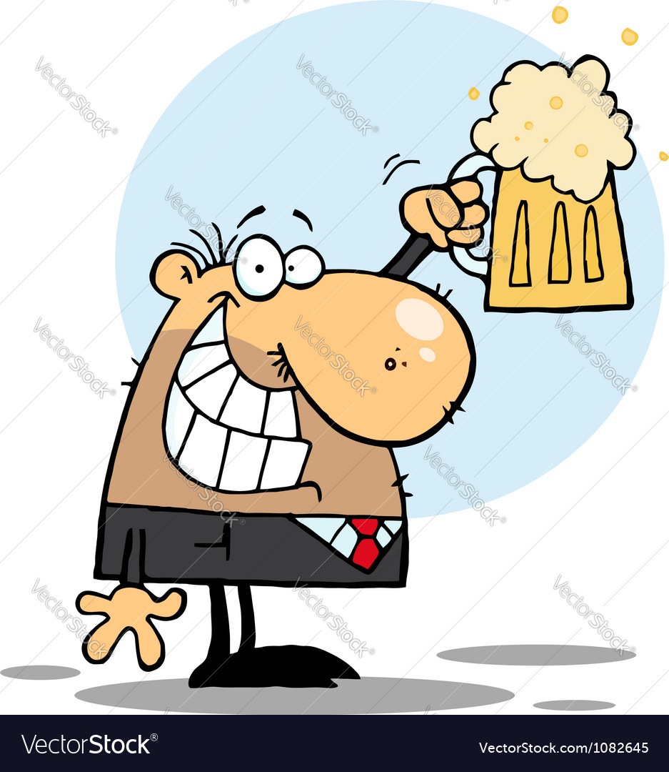 Happy bussinesman celebrating a pint of beer vector | Price: 1 Credit (USD $1)