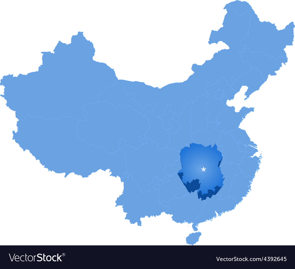 Map of peoples republic of china - hunan province vector | Price: 1 Credit (USD $1)