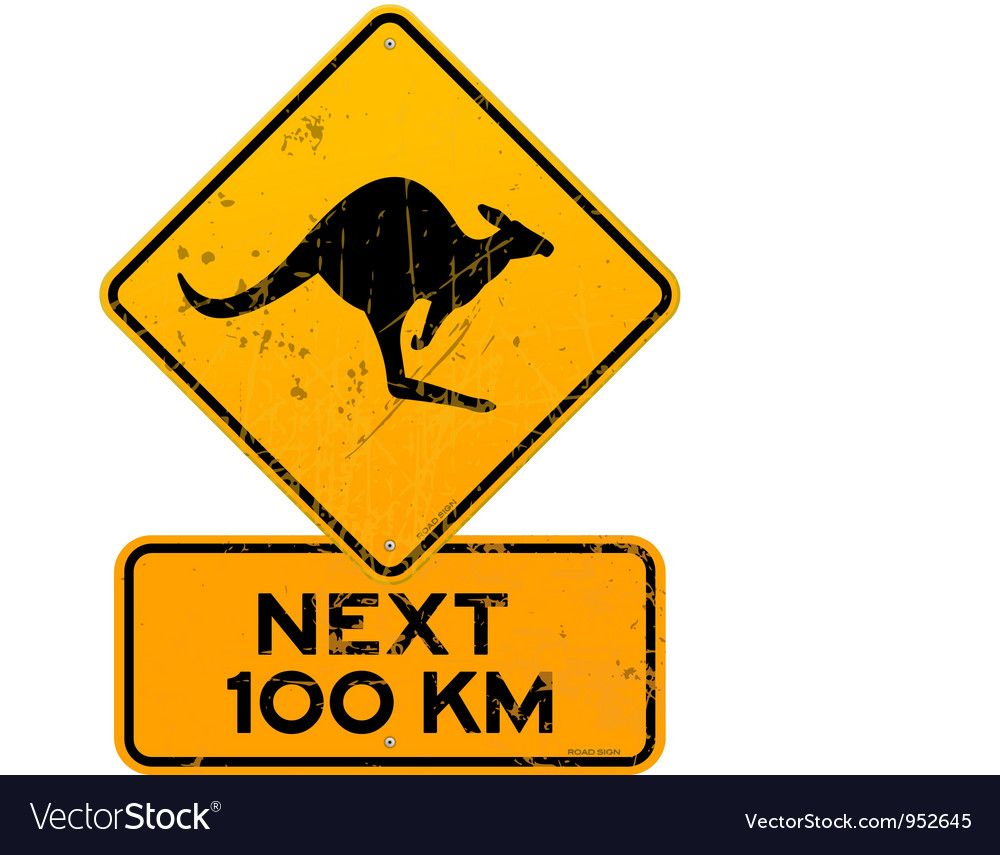 Roadsign kangaroos next 100 km vector | Price: 1 Credit (USD $1)