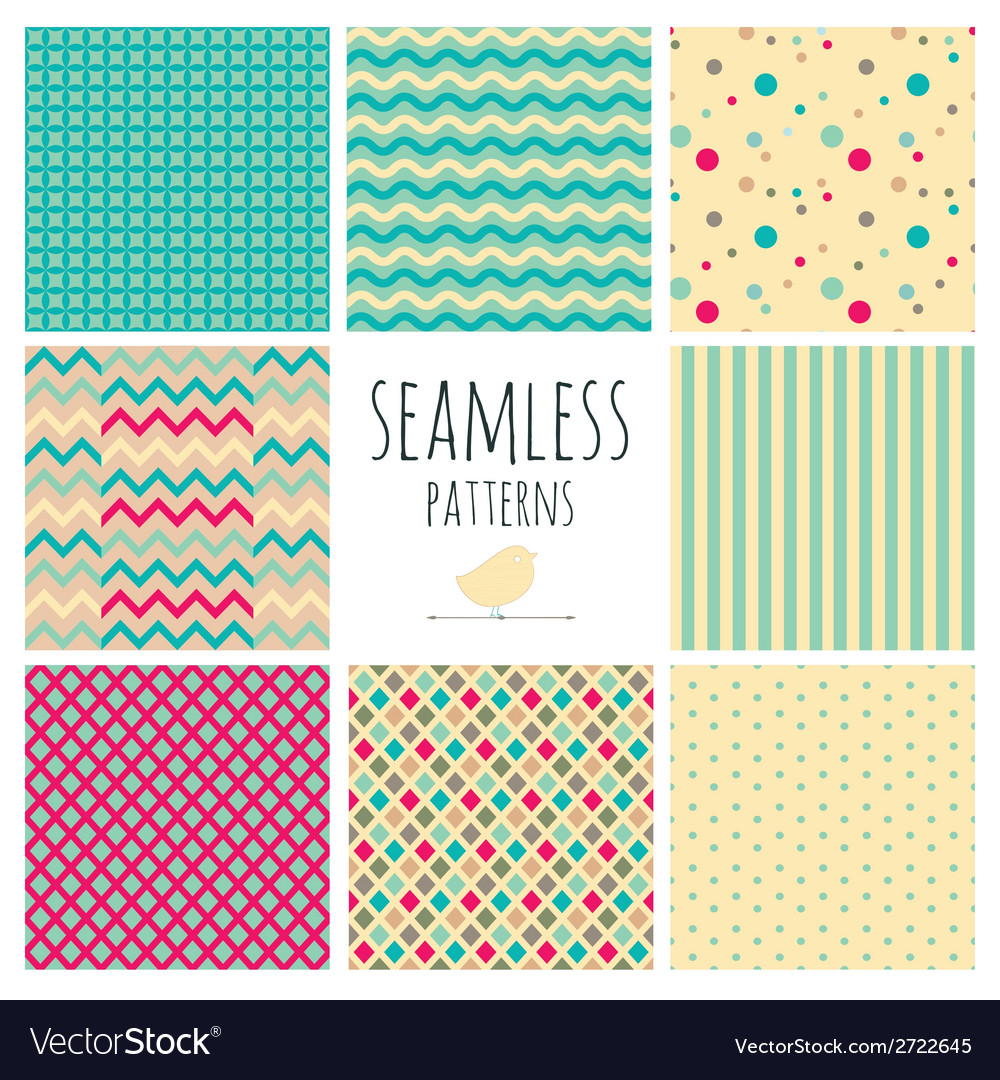 Seamless colorful geometric background set vector | Price: 1 Credit (USD $1)