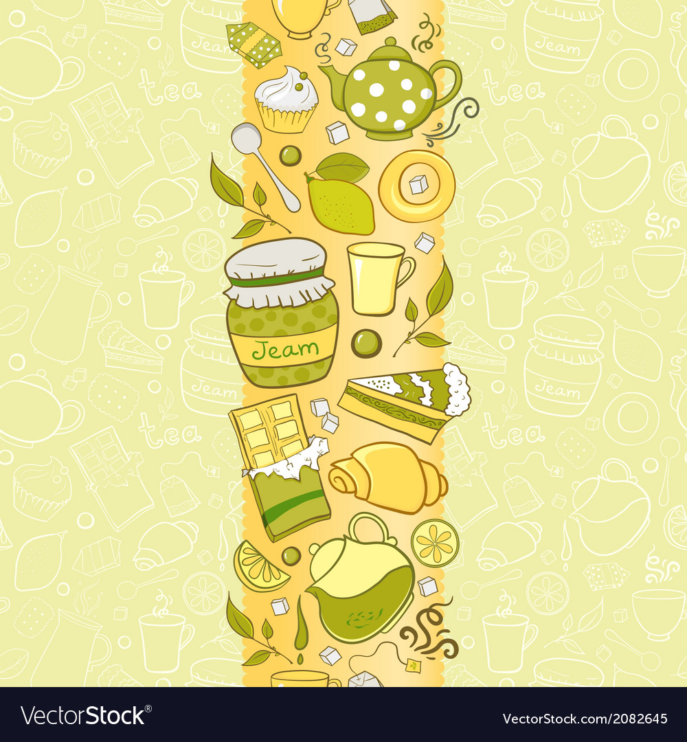 Seamless vertical border with tea elements vector | Price: 1 Credit (USD $1)