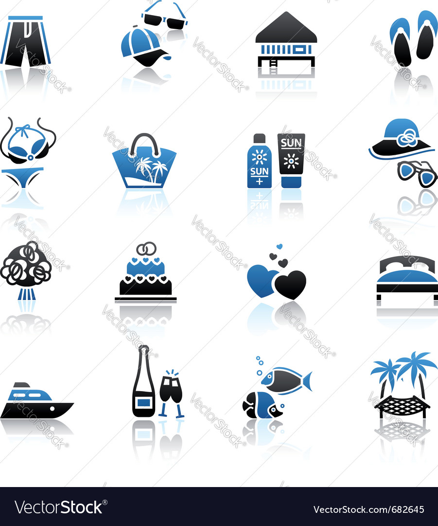 Vacation travel  recreation icons set vector | Price: 1 Credit (USD $1)