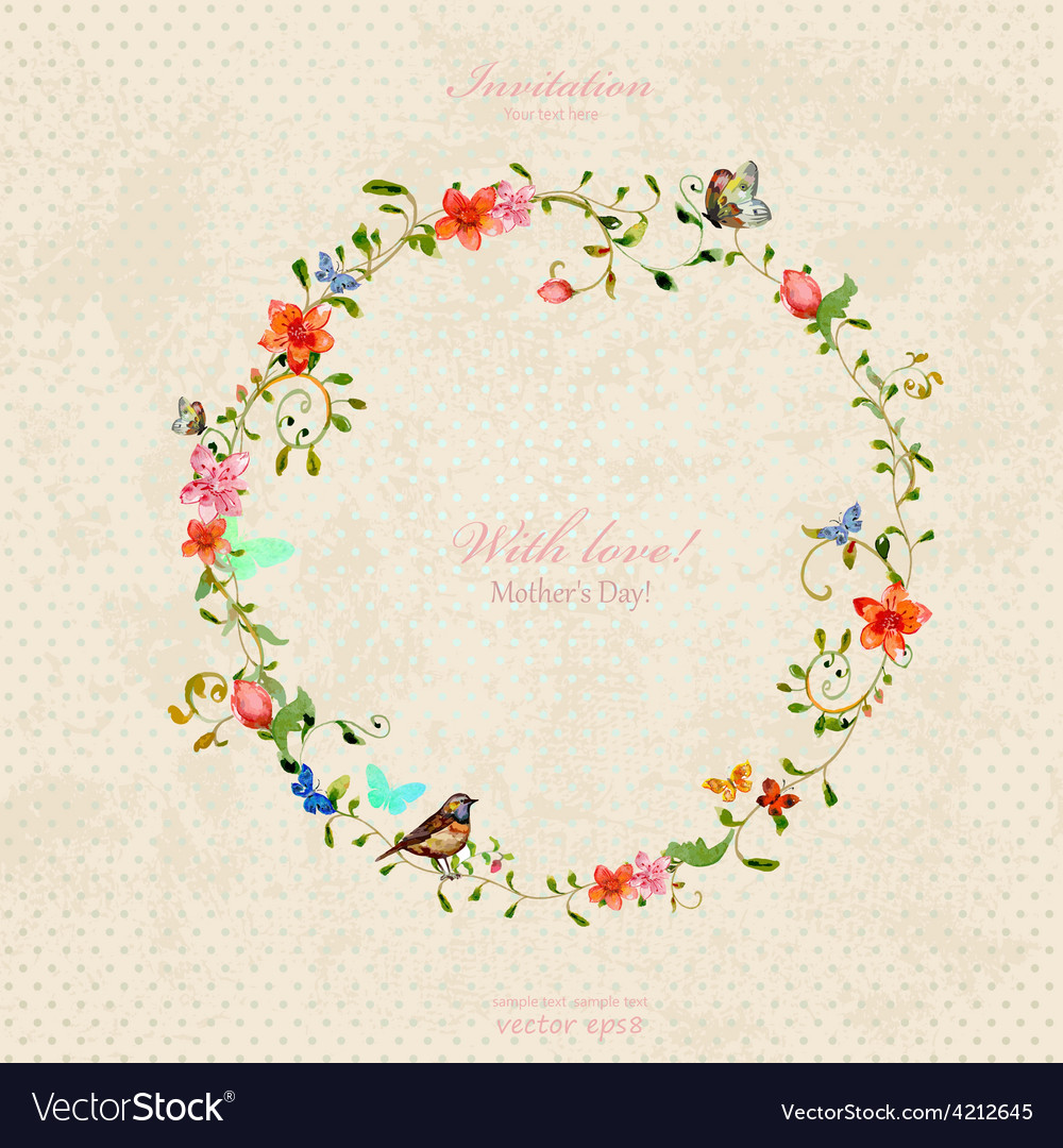 Vintage wreath with foliate ornament and flowers vector | Price: 1 Credit (USD $1)