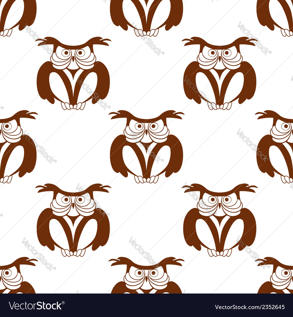 Wise old owl seamless background pattern vector | Price: 1 Credit (USD $1)