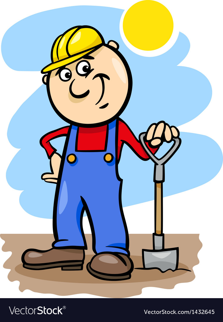 Worker with spade cartoon vector | Price: 1 Credit (USD $1)