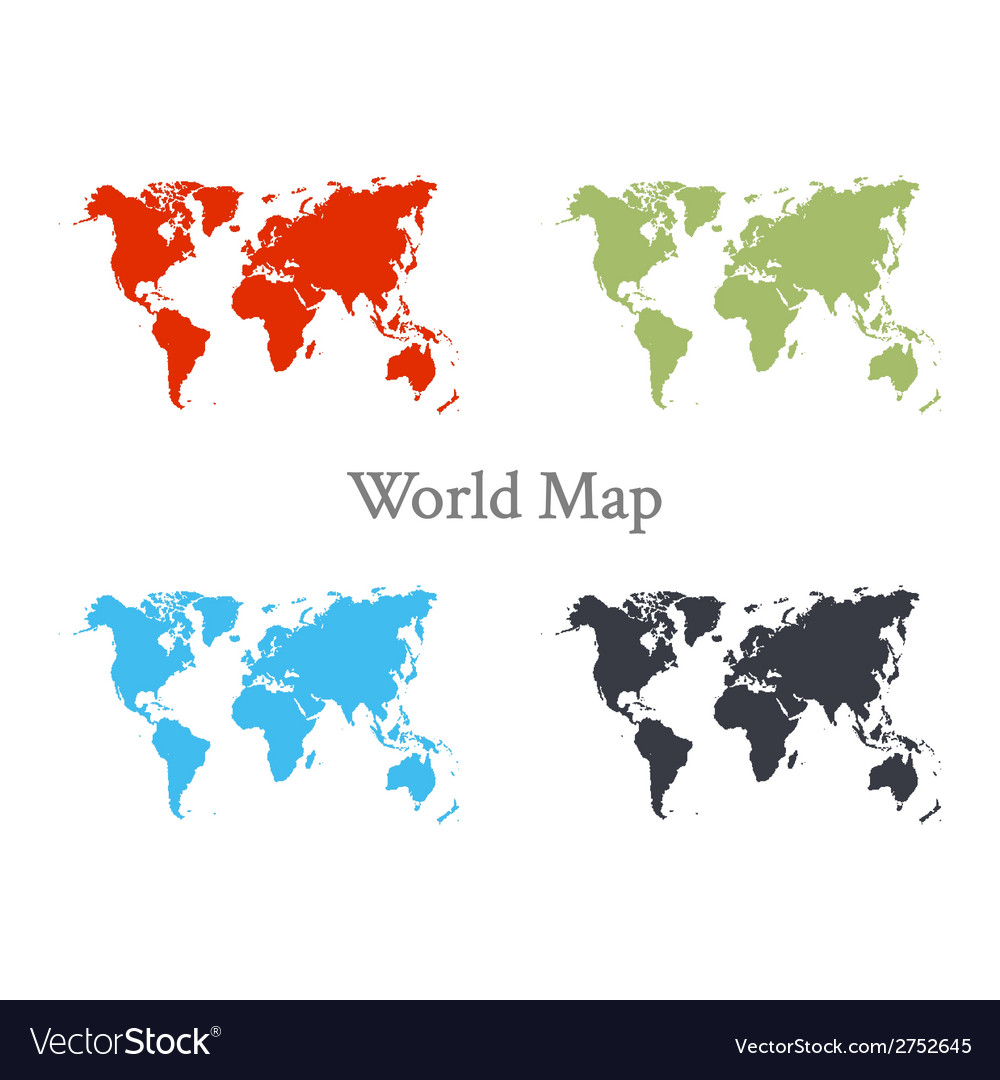 World map set in different color vector | Price: 1 Credit (USD $1)