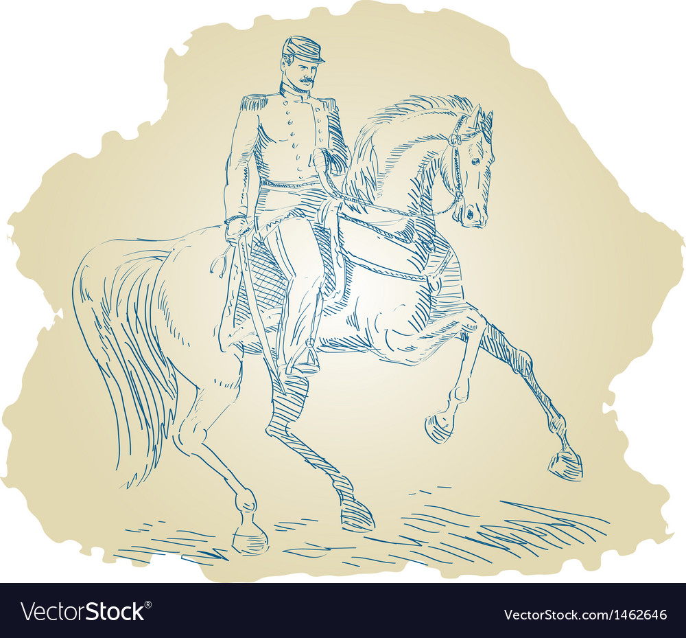 American civil war union officer on horseback vector | Price: 1 Credit (USD $1)