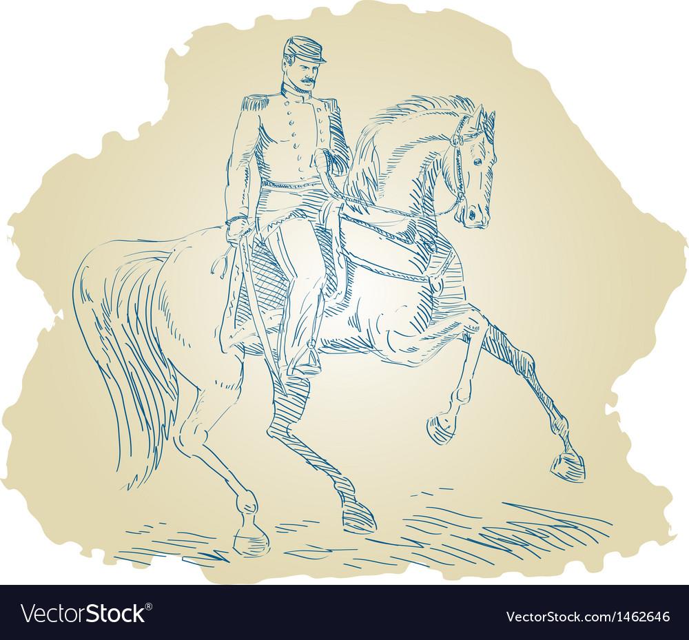 American civil war union officer on horseback vector   Price: 1 Credit (USD $1)