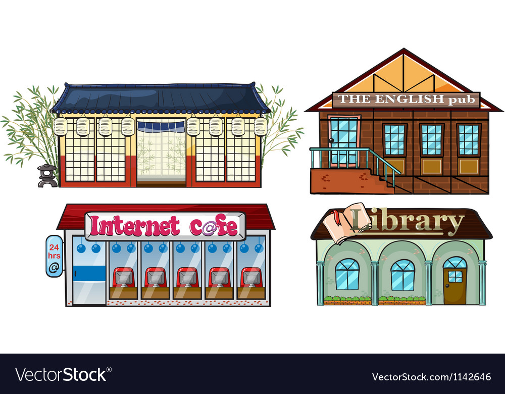 Asian building pub internet cafe and a library vector | Price: 1 Credit (USD $1)