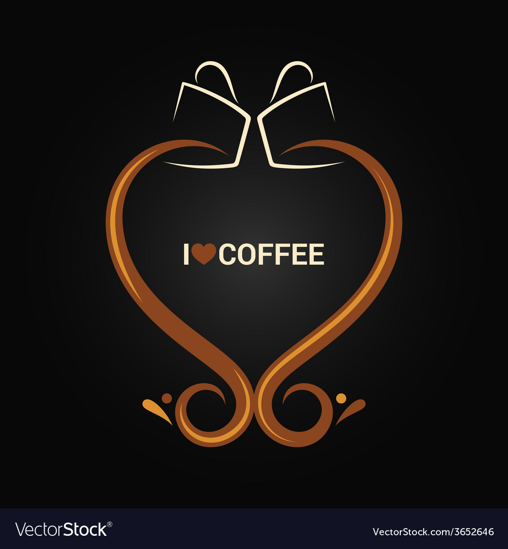 Coffee cup love concept background vector | Price: 1 Credit (USD $1)
