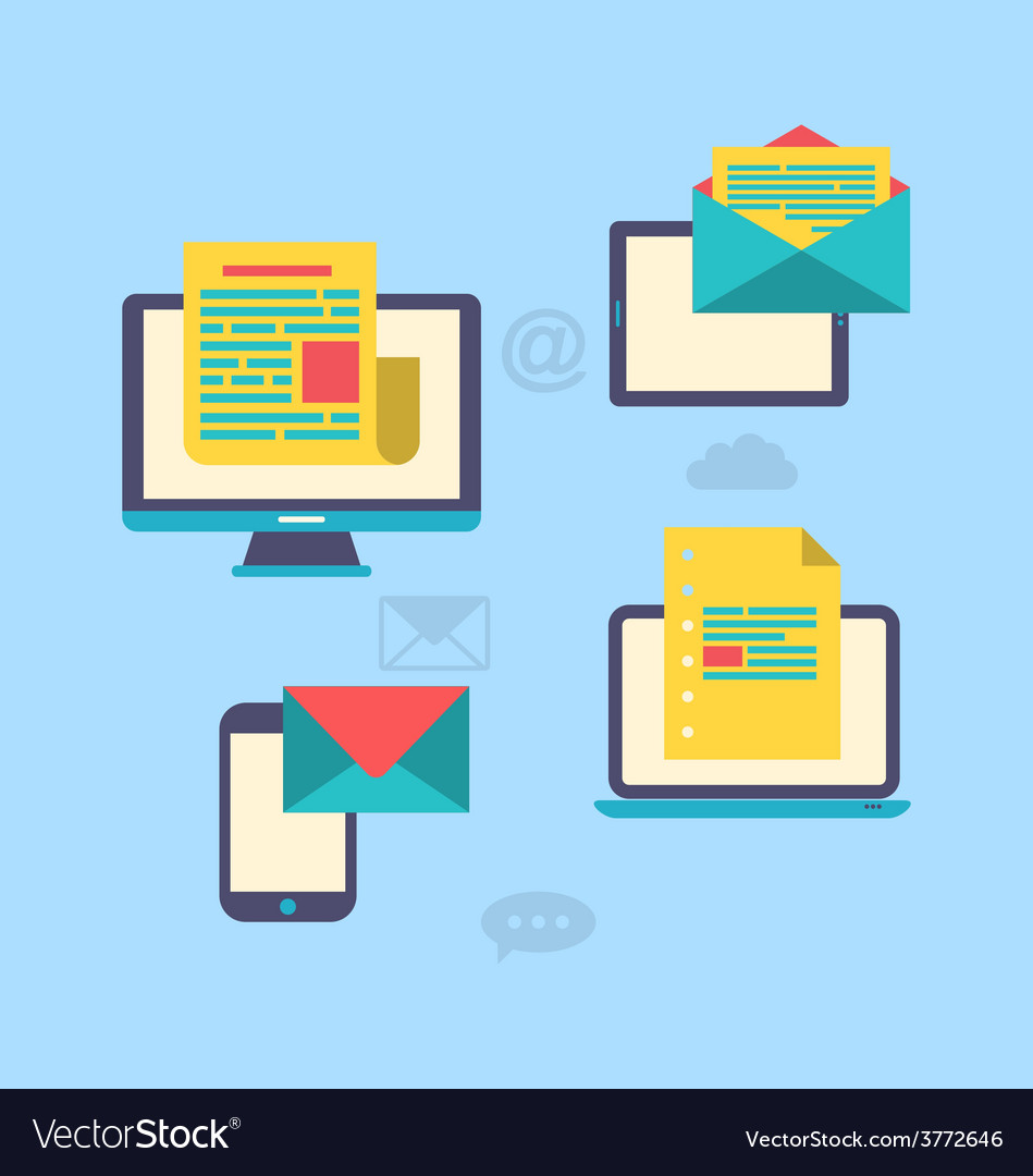 Concept of email marketing via electronic gadgets vector   Price: 1 Credit (USD $1)