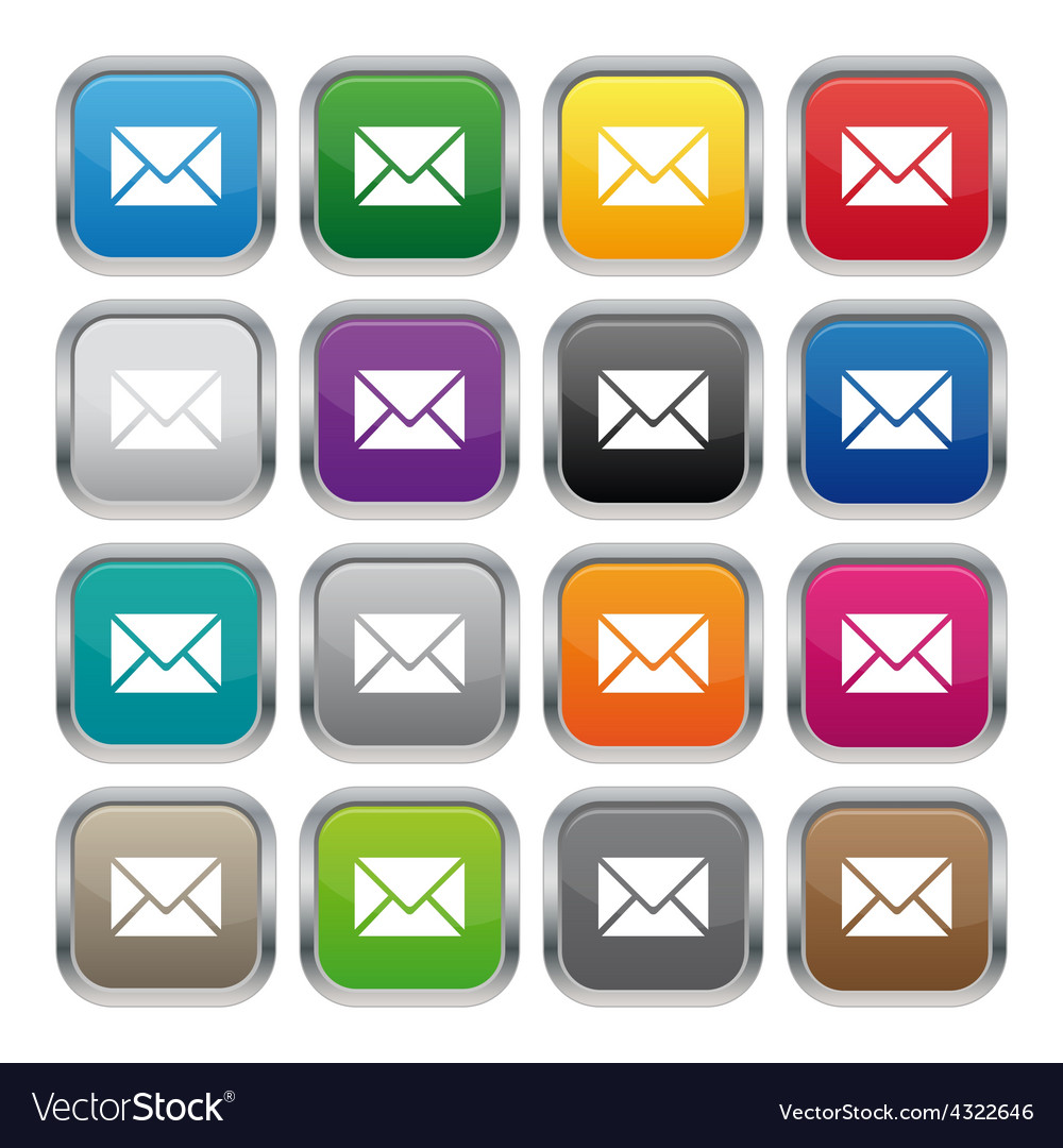 Contact us metallic square buttons vector | Price: 1 Credit (USD $1)