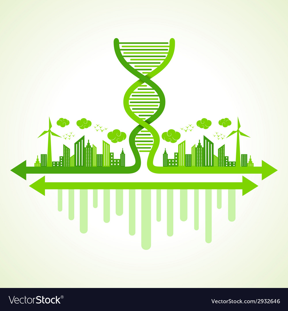 Ecology concept with dna strand vector | Price: 1 Credit (USD $1)