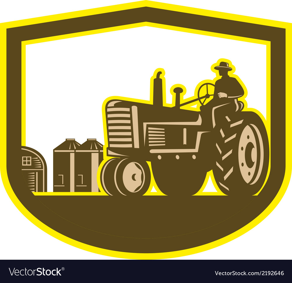 Farmer driving tractor plowing farm shield retro vector | Price: 1 Credit (USD $1)