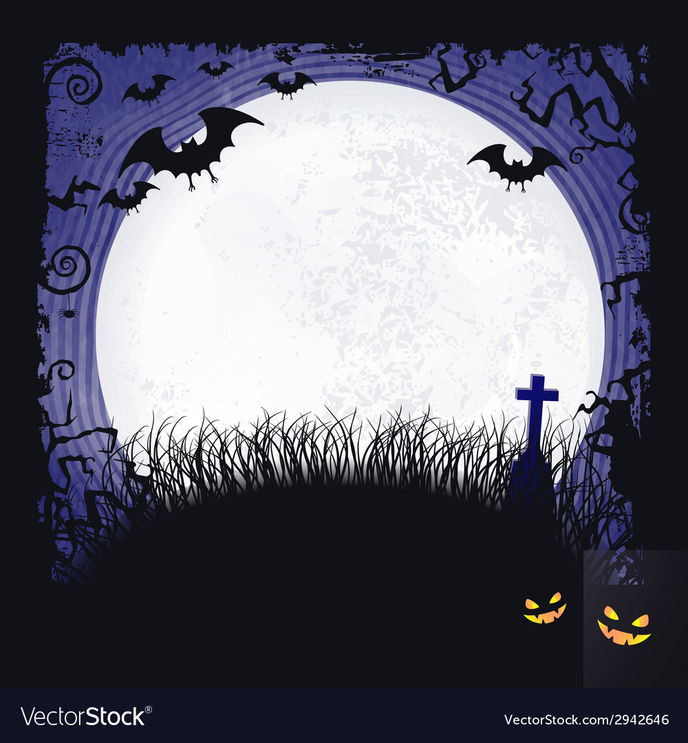 Full moon with bats and cross halloween vector | Price: 1 Credit (USD $1)