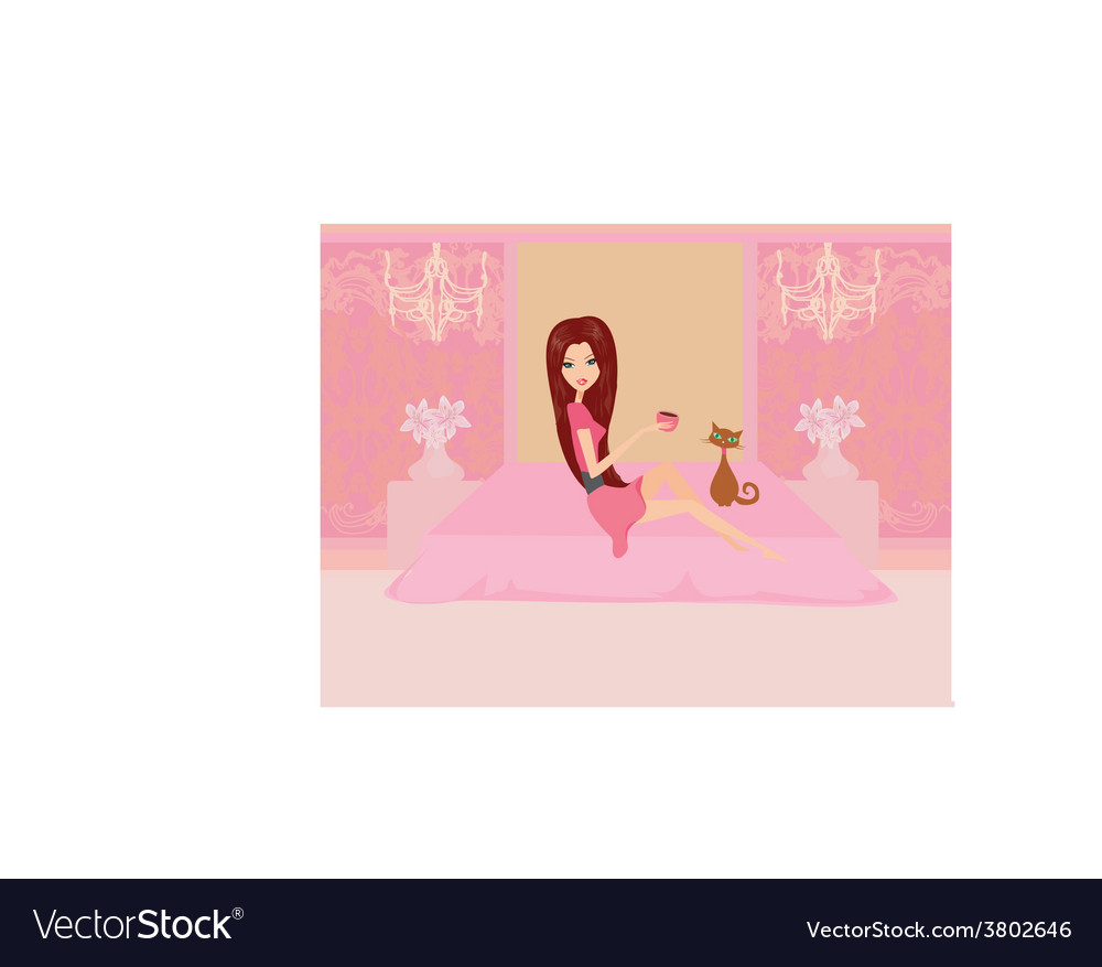 Girl on coffee break in home vector | Price: 1 Credit (USD $1)