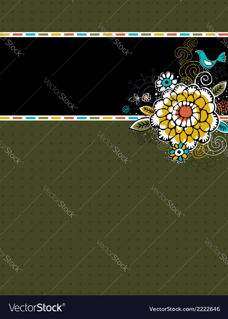 Hand draw flowers on green background vector | Price: 1 Credit (USD $1)