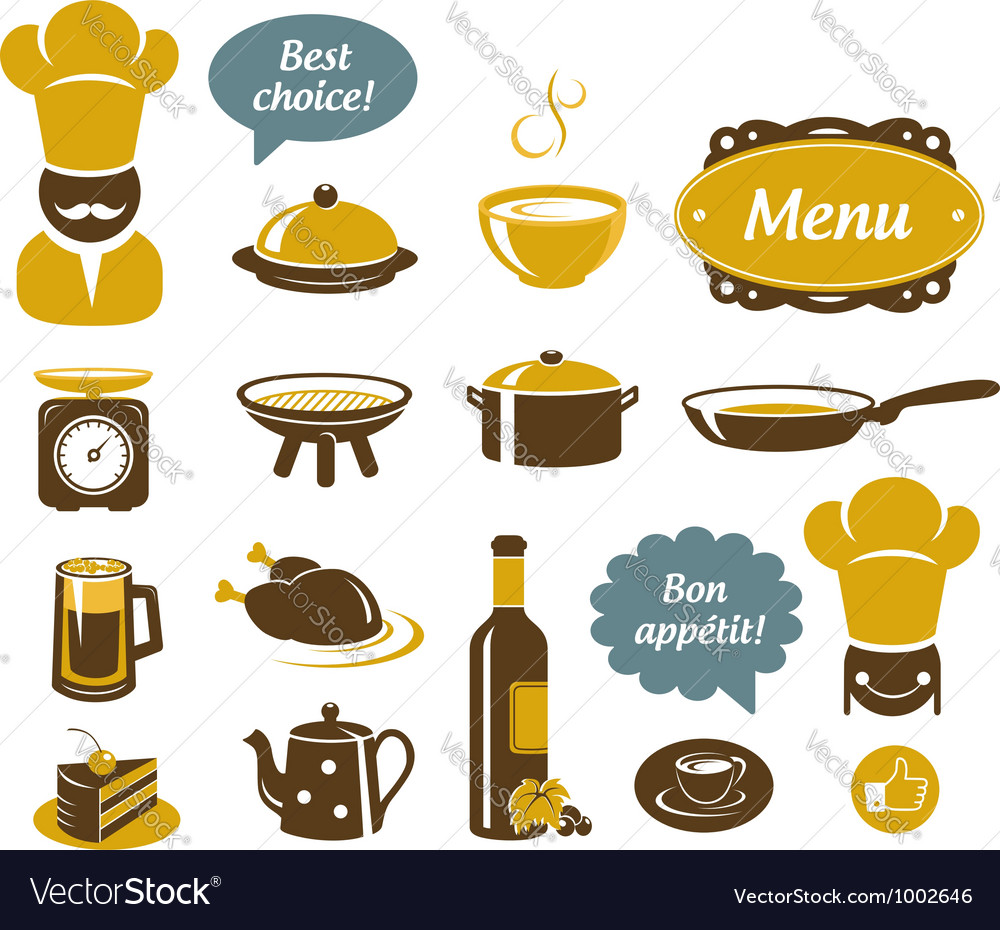 Kitchen and restaurant icons vector | Price:  Credit (USD $)