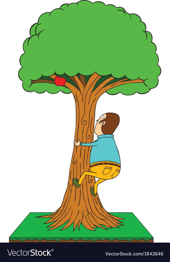 Man climbing apple tree vector   Price: 1 Credit (USD $1)