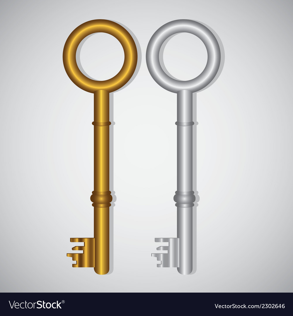 Old gold and silver keys on gradient background vector | Price: 1 Credit (USD $1)