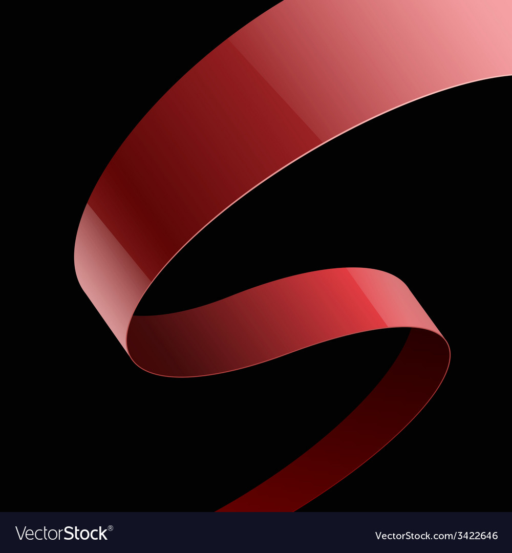 Red fabric glossy curved ribbon on black vector | Price: 1 Credit (USD $1)