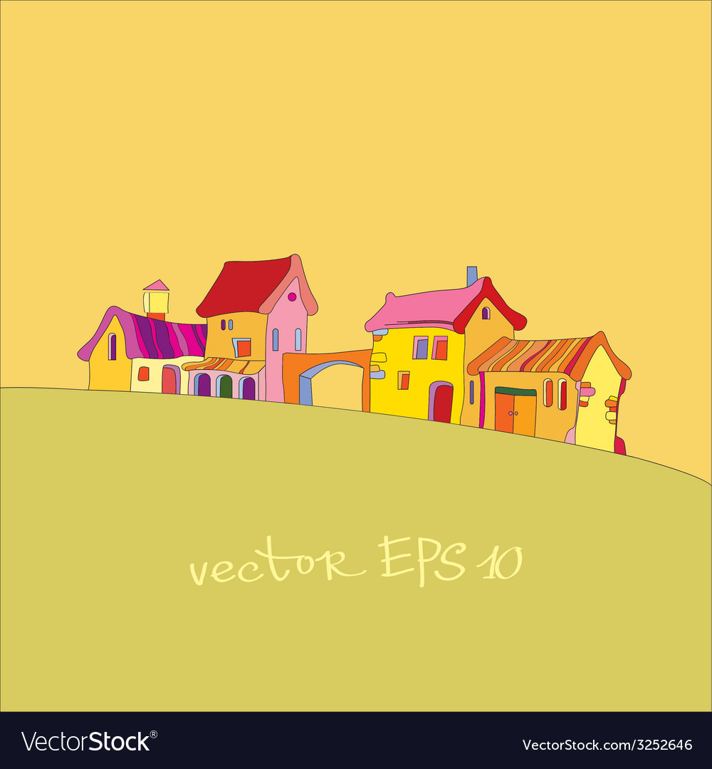 Small village painted in cartoon style vector | Price: 1 Credit (USD $1)
