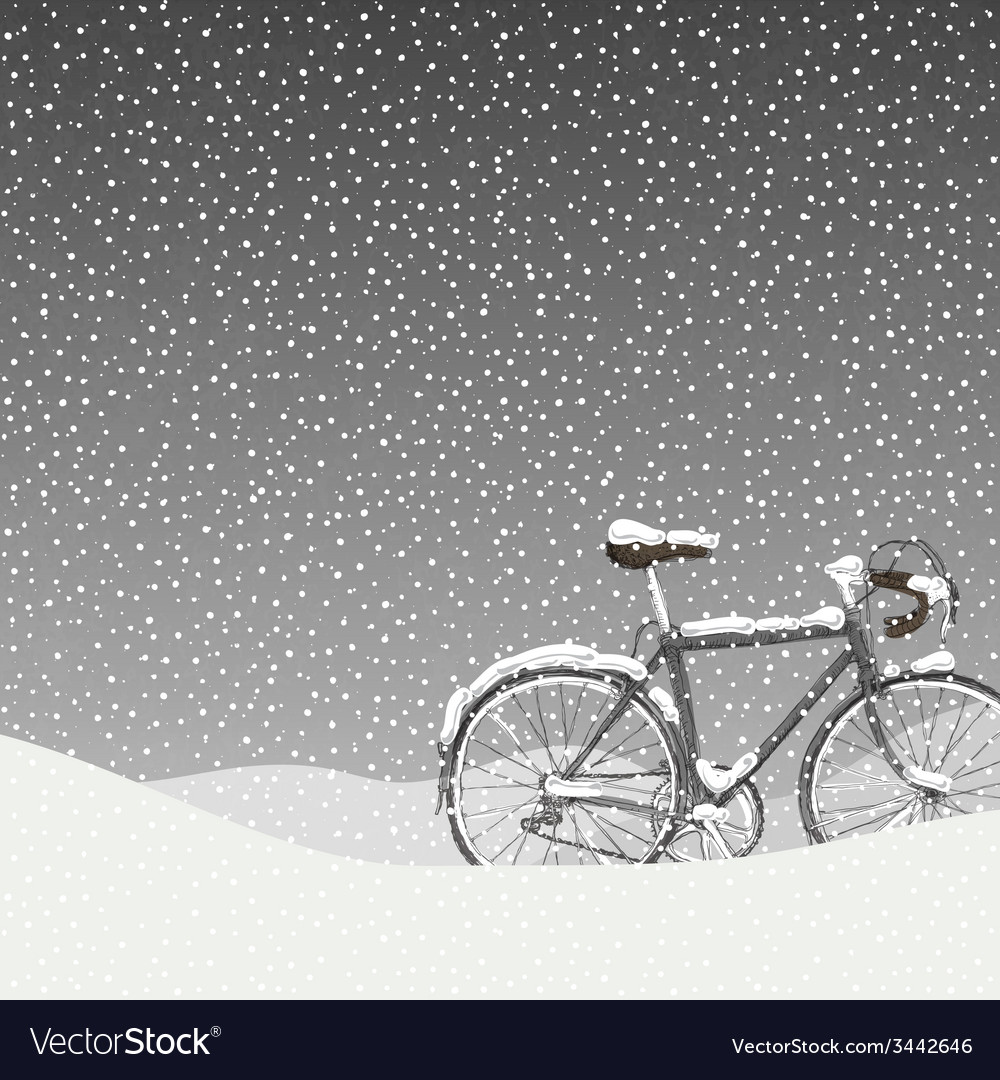 Snow covered bicycle calm winter scene vector | Price: 1 Credit (USD $1)