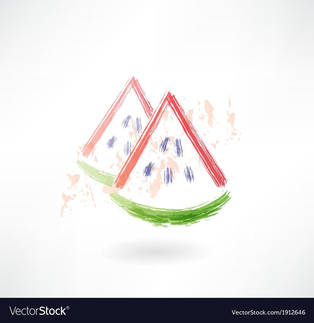 Watermelon grunge icon vector   Price: 1 Credit (USD $1)