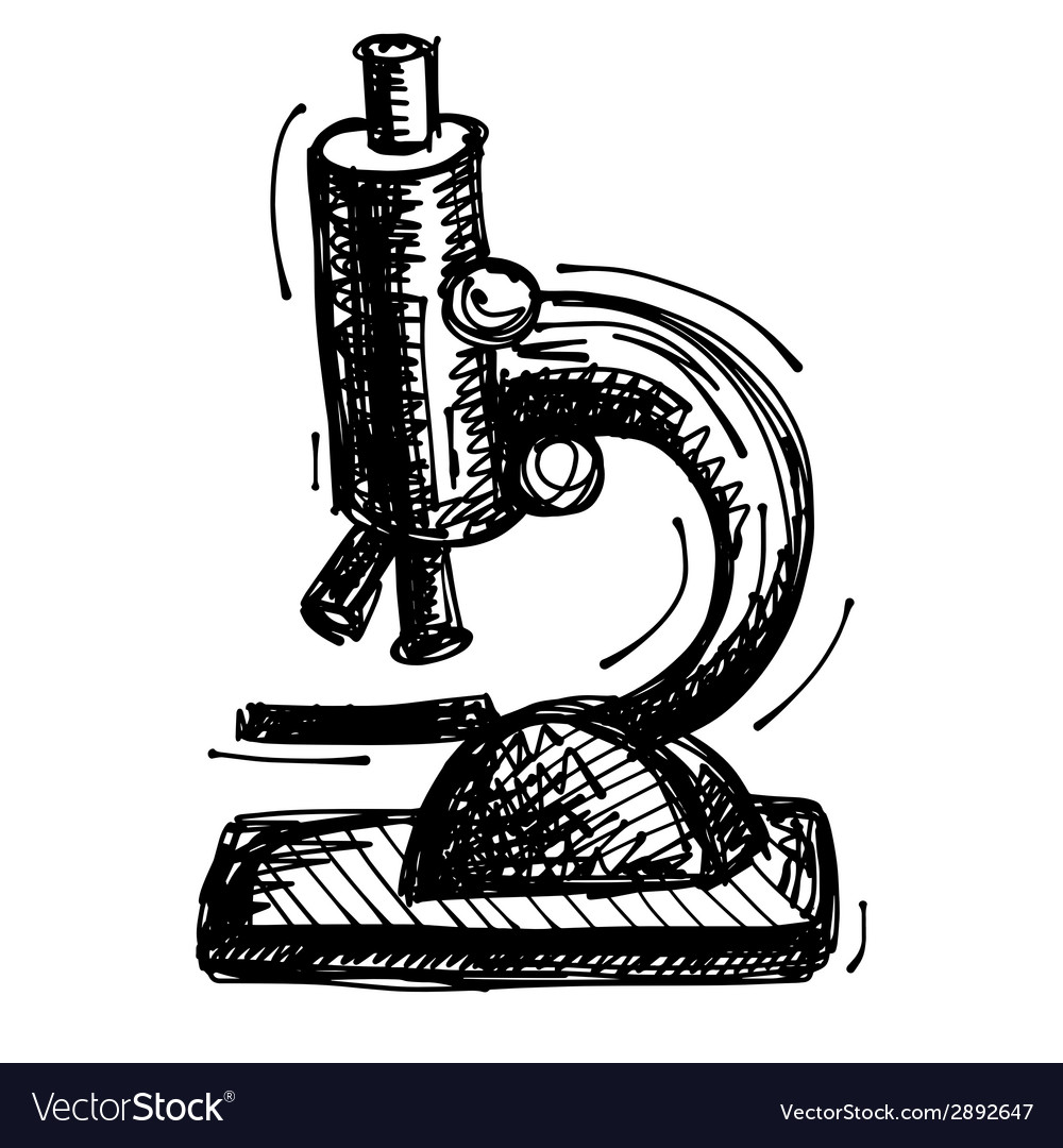 Black sketch drawing of microscope vector | Price: 1 Credit (USD $1)