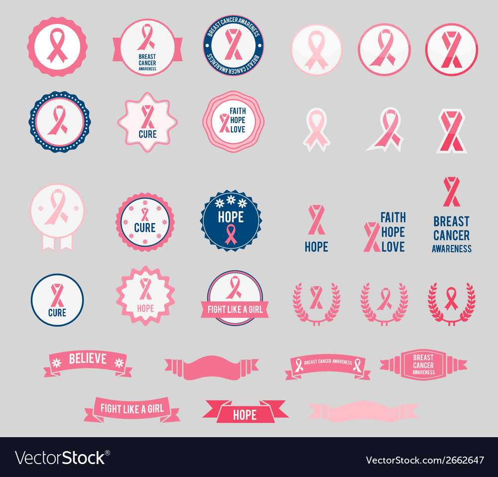 Breast cancer awareness ribbons and badges vector | Price: 1 Credit (USD $1)