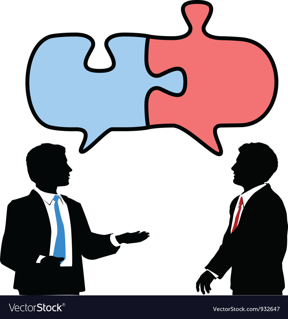 Business people connect collaborate puzzle talk vector | Price: 1 Credit (USD $1)
