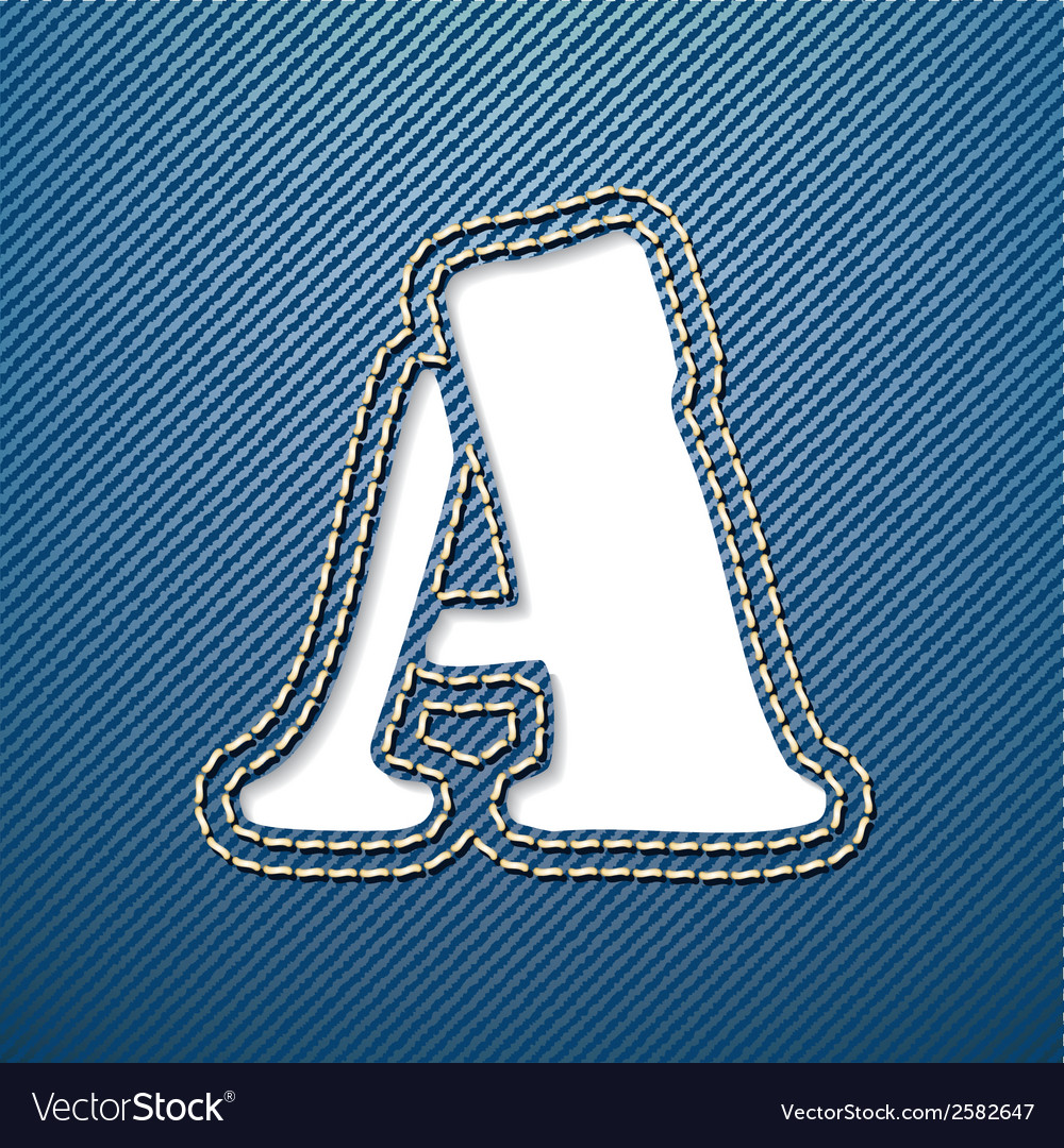 Denim jeans letter a vector | Price: 1 Credit (USD $1)