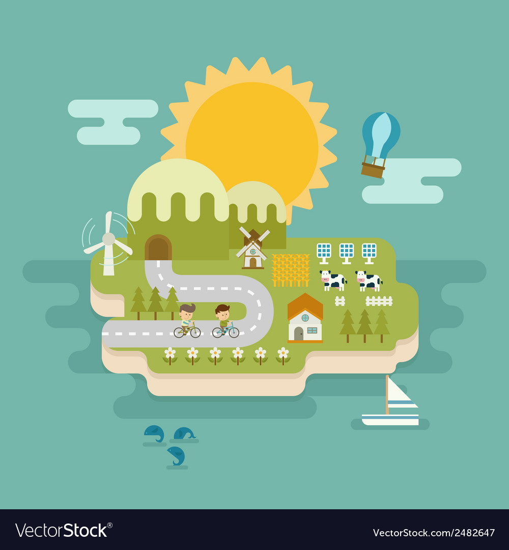 Eco green concept flat design vector | Price: 1 Credit (USD $1)