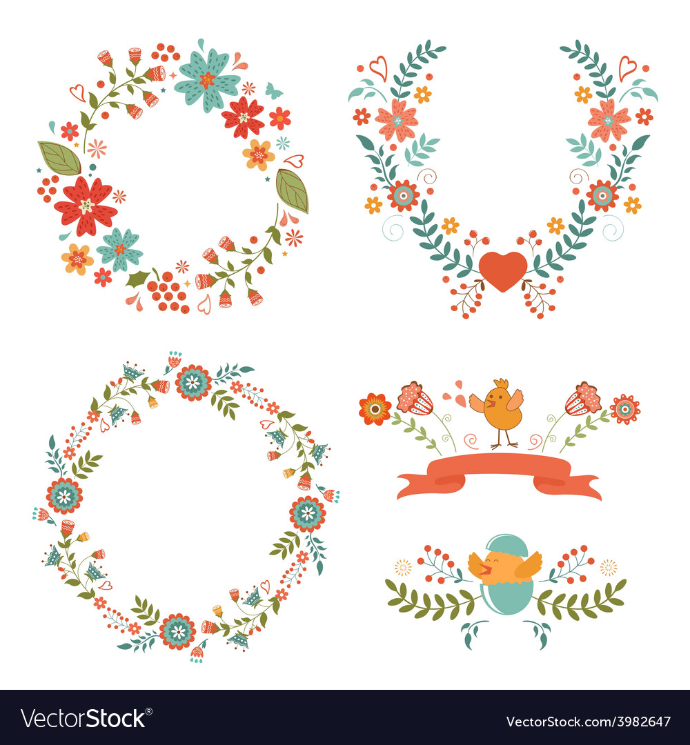 Floral easter wreaths vector | Price: 1 Credit (USD $1)
