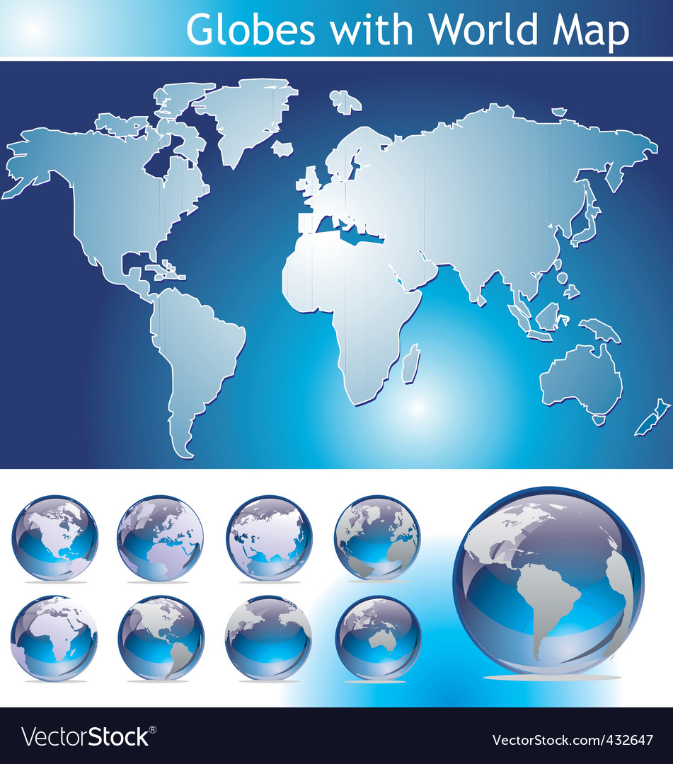 Globes with world map vector | Price: 1 Credit (USD $1)