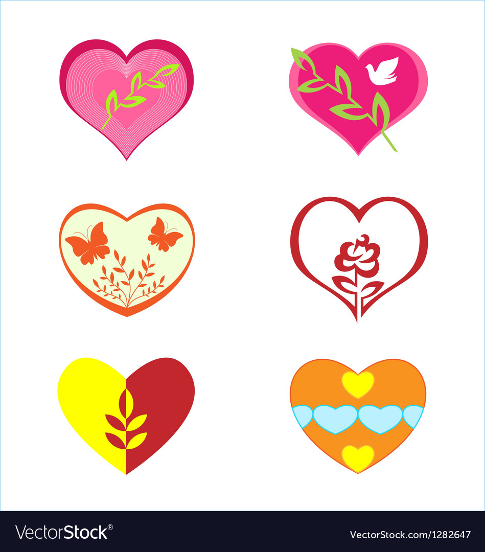 Hearts with various plants vector | Price: 1 Credit (USD $1)