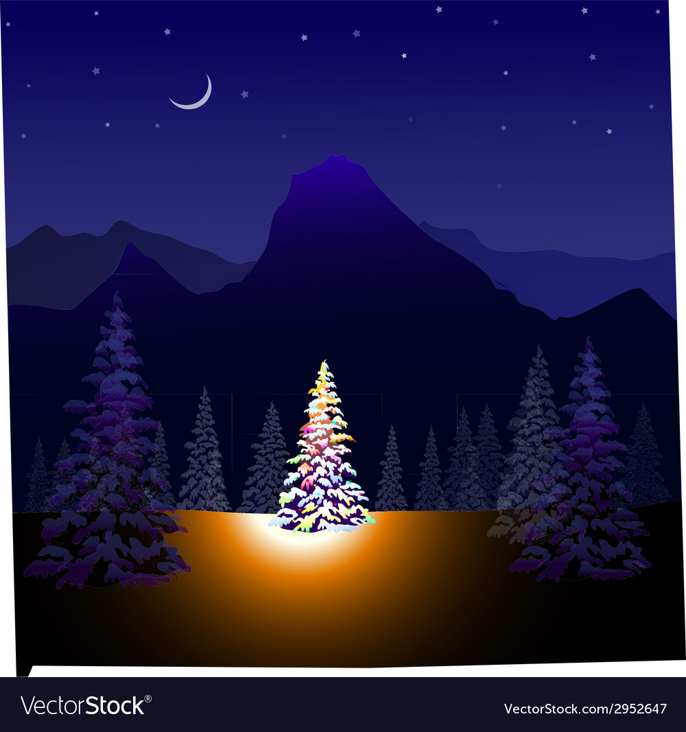Merry christmas and winter landscape vector | Price: 1 Credit (USD $1)