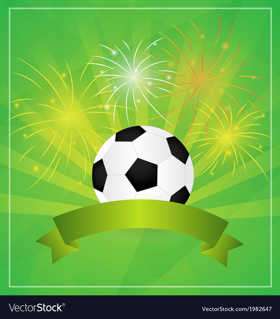 Soccer with banner and fireworks background vector | Price: 1 Credit (USD $1)