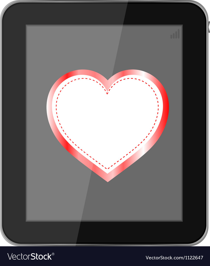 Tablet pc on white background love valentine heart vector | Price: 1 Credit (USD $1)