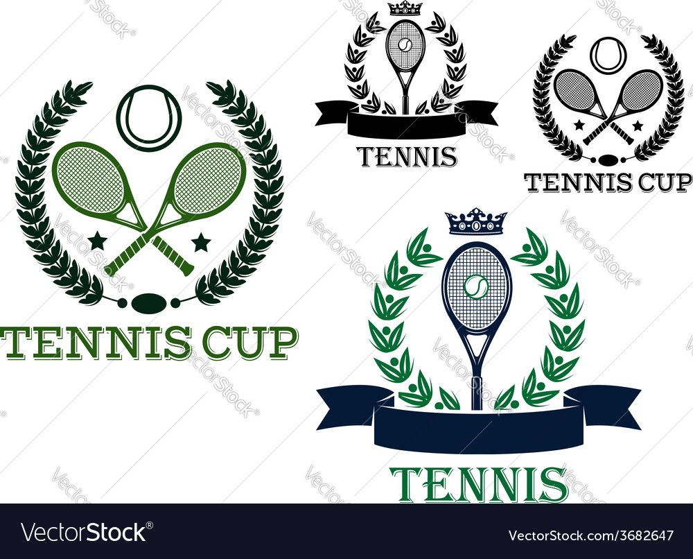 Tennis rackets and balls in sporting labels vector | Price: 1 Credit (USD $1)