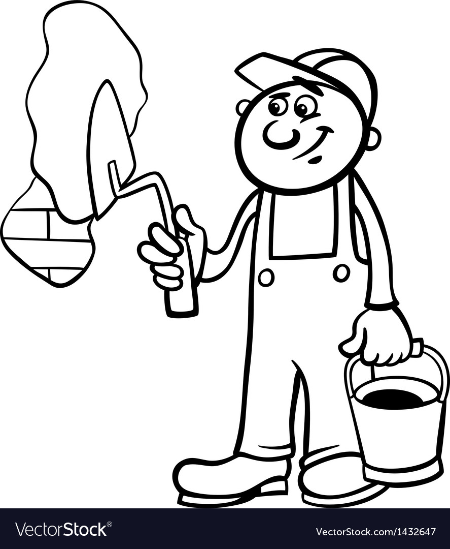 Worker with trowel coloring page vector   Price: 1 Credit (USD $1)