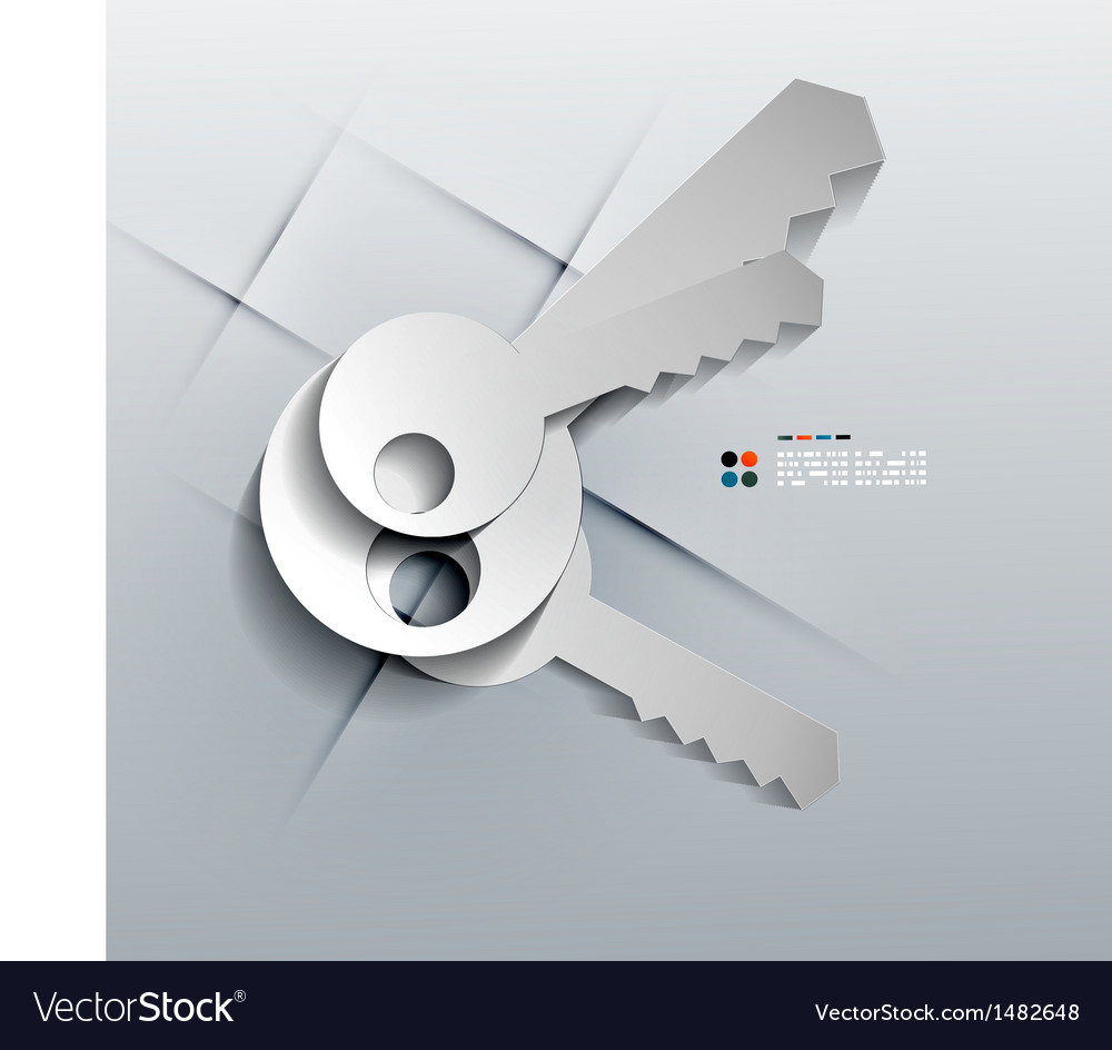 3d paper keys modern design vector | Price: 1 Credit (USD $1)