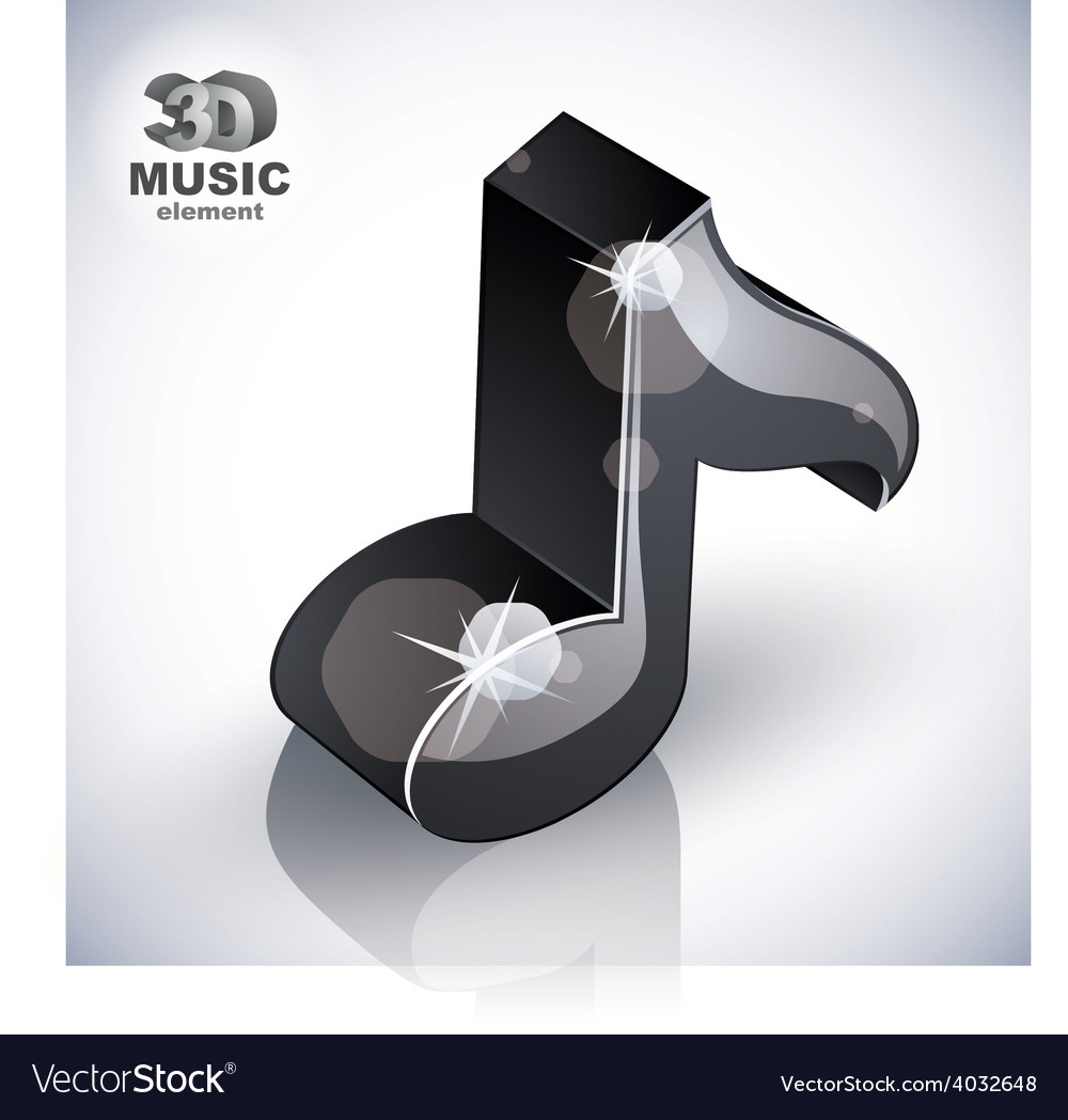 Black musical note icon from upper view isolated vector | Price: 1 Credit (USD $1)