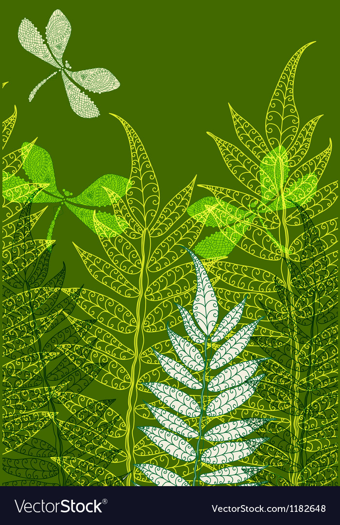 Card with fern vector | Price: 1 Credit (USD $1)