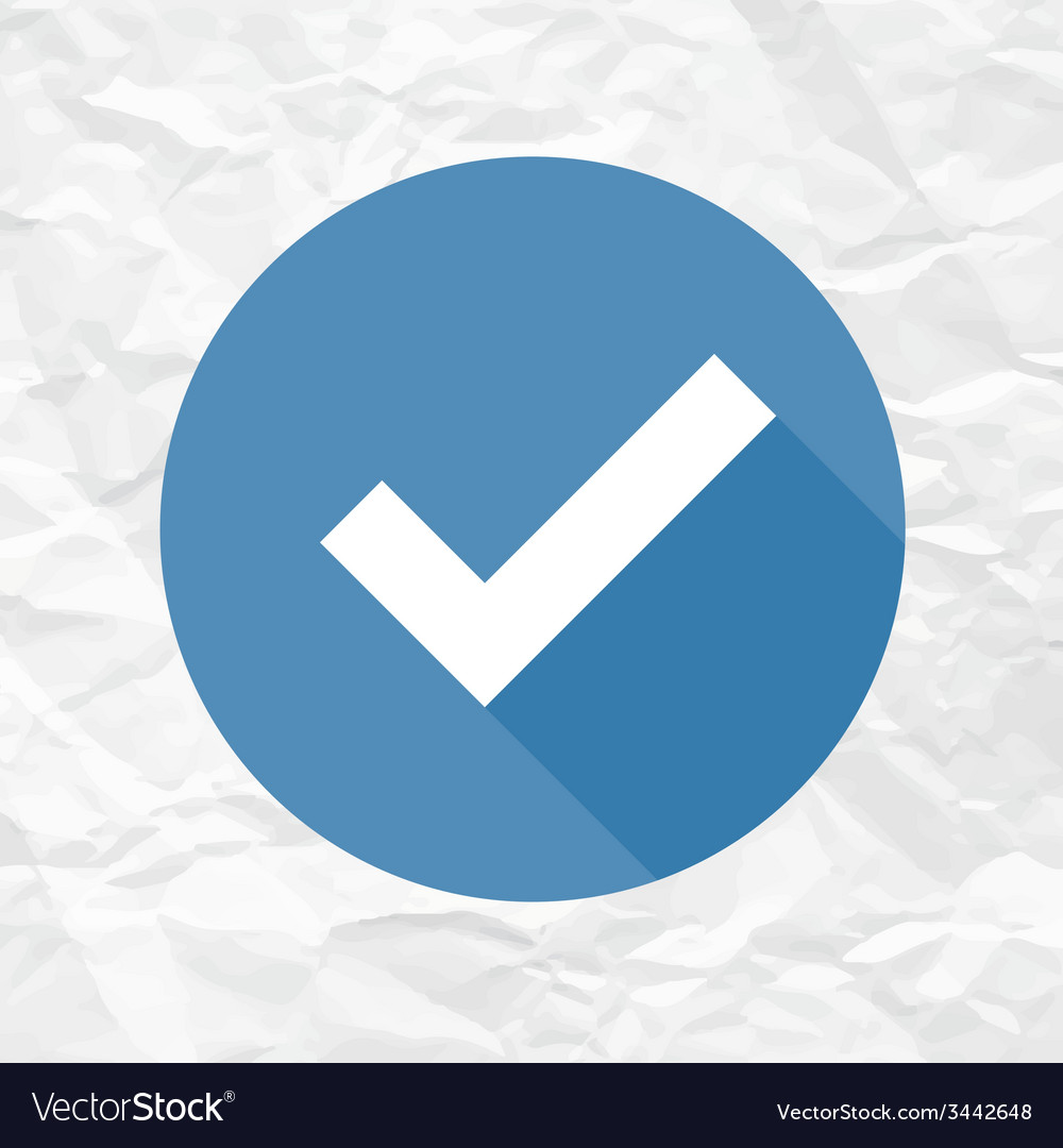 Check mark blue on crumpled paper vector | Price: 1 Credit (USD $1)